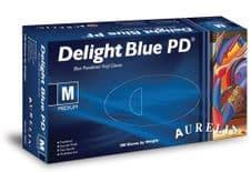 Aurelia Vinyl Powdered Disposable Blue Gloves - XLarge - Pack 100